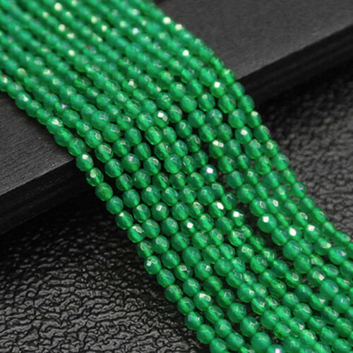 "4mm Genuine Natural Faceted Green Jade Round Gemstone Loose Beads 15/"" Y1669"