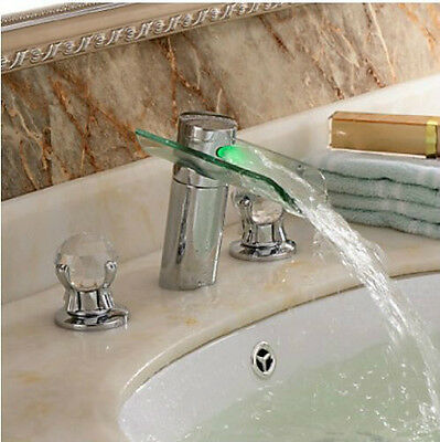 3pcs LED Waterfall Glass Spout Bathroom Sink Faucet Crystal Handles Mixer Tap