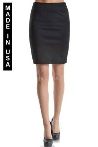 solid above knee pencil skirt made