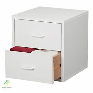 Modern White 2 Drawer Cube Dresser Bedroom Furniture