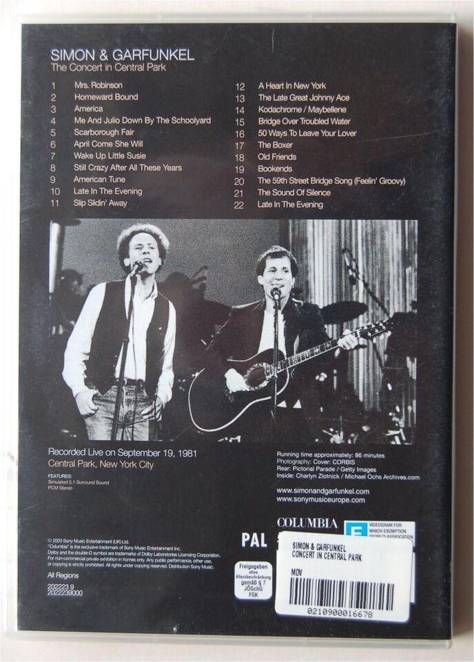 SIMON & GARFUNKEL The Concert in Central Park, DVD, andet