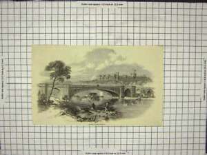 Original-Old-Antique-Print-Victoria-Bridge-Windsor-Boats-Ducks-Tree