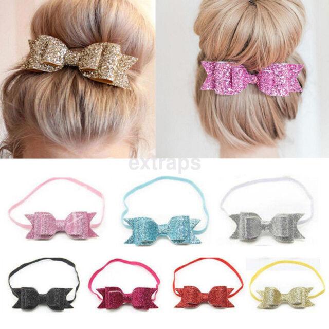 Baby Girls Soft Satin Organza Bow Elastic Headband Hair Band Accessories-135r