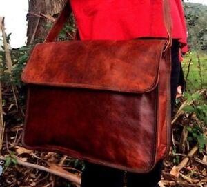 Men-039-s-Leather-Messenger-Bag-Satchel-Business-Briefcase-Laptop-Bags-Handmade