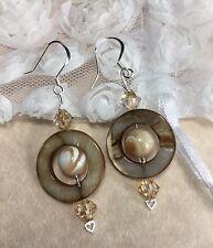 Mala Mother Of Pearl Silver Drop Earrings W/Swarovski Elements & Shells USA