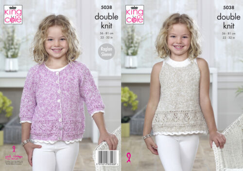 Raglan Sleeve Cardigan /& Top Double Knitting Pattern King Cole Girls DK 5038