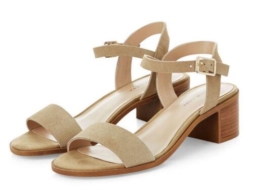 Mujeres de talla grande 9 43 Nuevo Look Beige Gamuza Cuero Verdadero Zapatos travestis Bnew