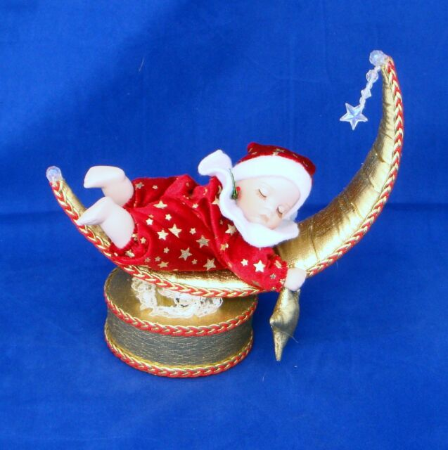 Musical Christmas Ornament Rocking Baby on Moon Silent Night Porcelain Face
