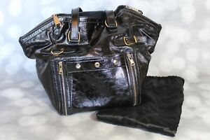 09476cccef23 Genuine YSL Black Patent Leather Downtown Tote Bag Handbag - Yves ...
