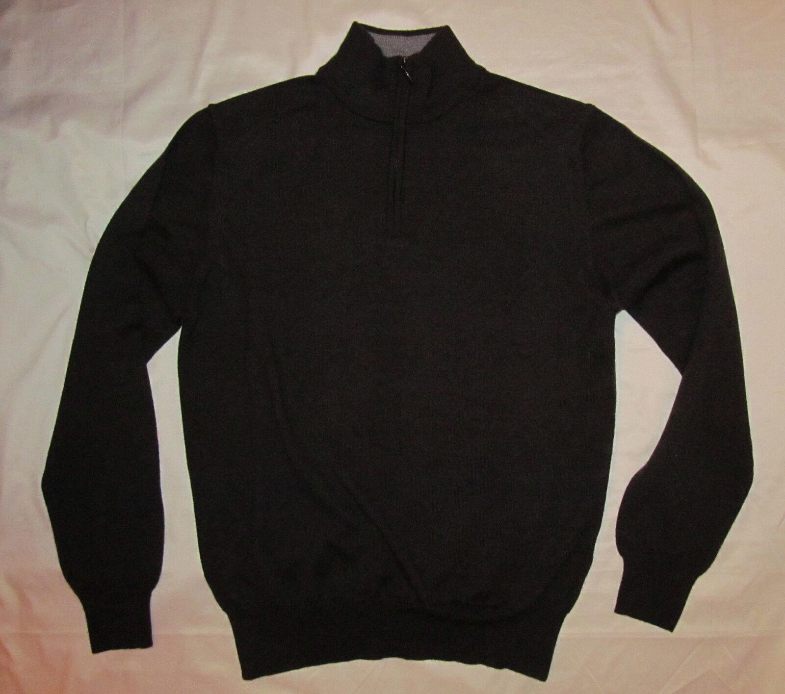 MARCO FIORI dark Braun soft lightweight merino wool 1/4 zip sweater top M ITALY