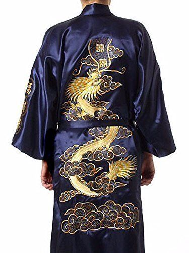 MENS Japanese Embroidered Dragon Silk Satin Night Dressing Gown Kimono Dark bluee