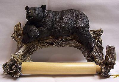 Black Bear Lounging Toilet Paper Holder Rustic Cabin Lodge