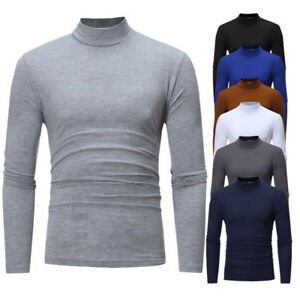 17cc1b52ca08 Men s Casual High Turtle Neck Pullover Slim Fit Long Sleeve Tops T ...