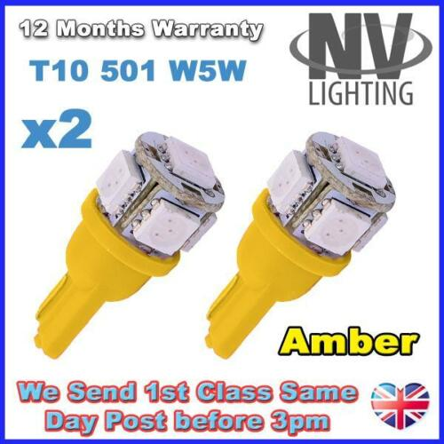SUPER BRIGHT Indicator Light bulbs 2 x 5 AMBER SMD LED 501 T10 W5W Interior