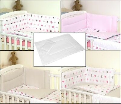 PINK GREY STARS REVERSIBLE BABY BEDDING SET COT or COT BED 3,4,5 PC+MORE DESIGNS   eBay