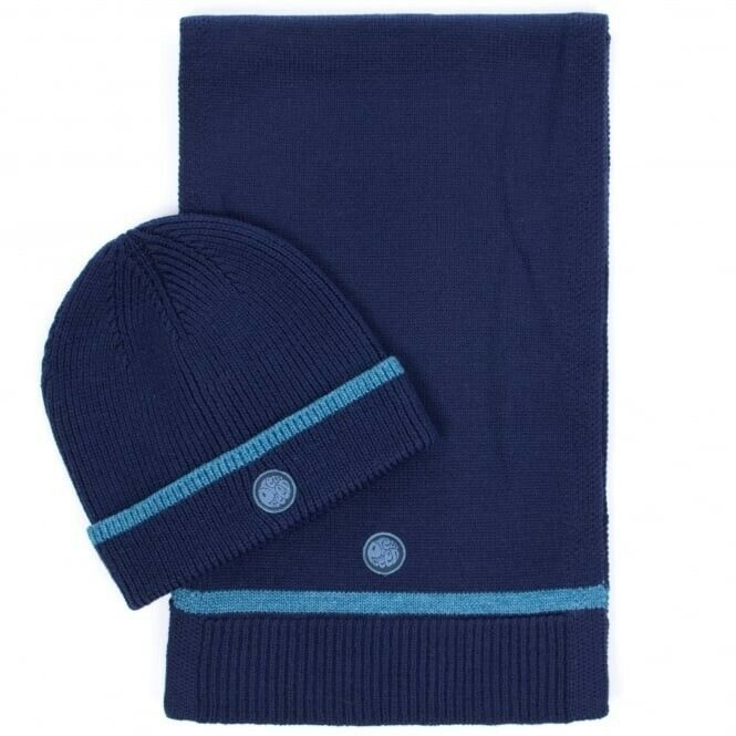BNIB Pretty Green Knitted Tipped Beanie and Scarf Gift Set Navy Blue RRP