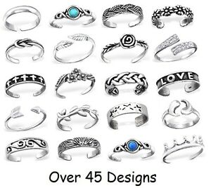 Solid-925-Sterling-SILVER-TOE-Ring-Adjustable-Stacking-MIDI-Knuckle-Top-Finger