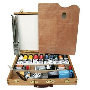 Daler Rowney AOG Artists Quality Cryla Acrylic Colour Deluxe Wooden Box Set | eBay