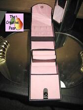 "Jewelry Holder Organizer Wallet Tri-Fold Black Travel Snap Case 4.5""x3.5""x2.5"""