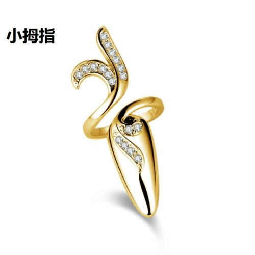 Gold Silver Plated Cubic Zircon Crystal Finger Nail Rings Fingernail Ring Decor