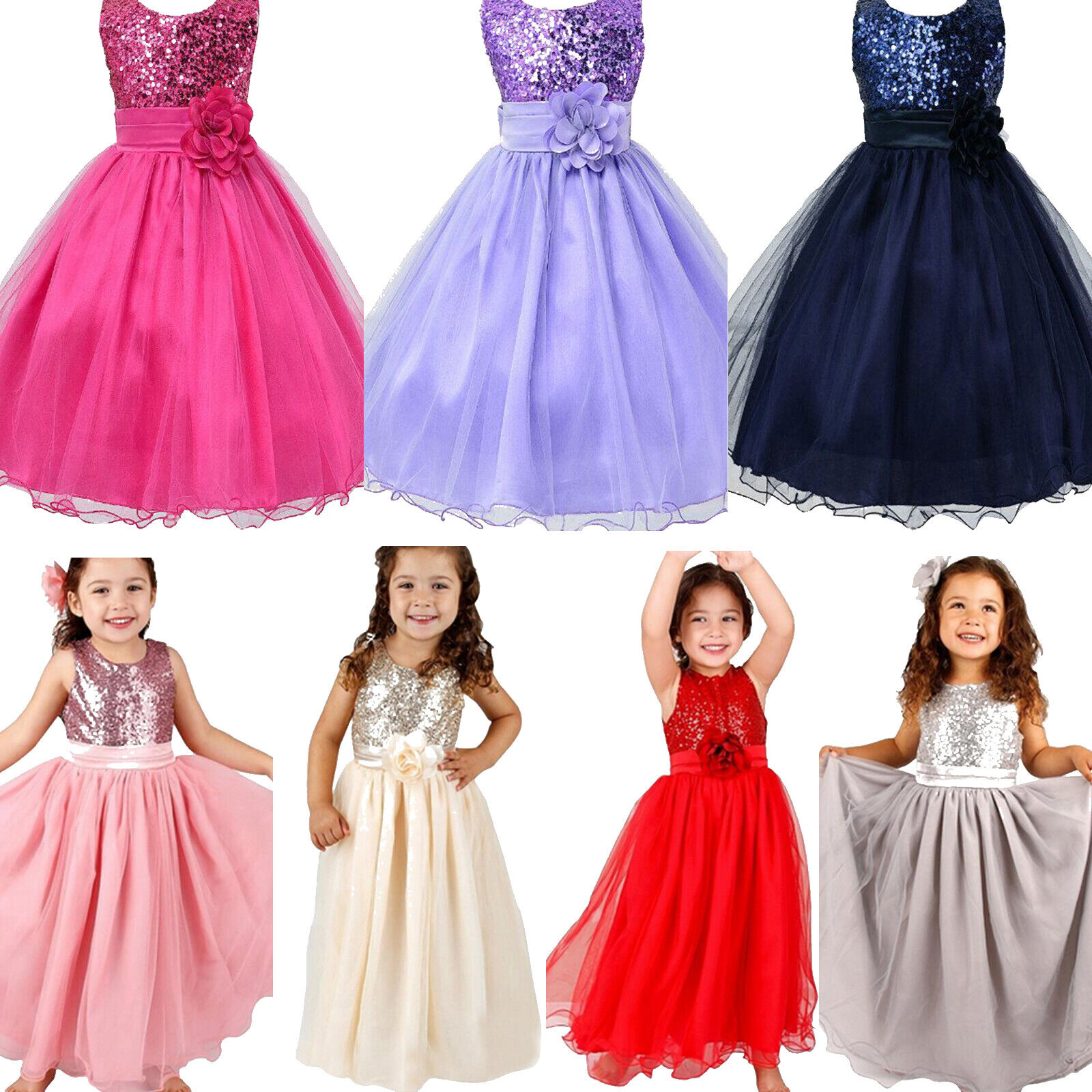 Kid Girl Party Sequins Wedding Formal Bridesmaid Princess Tank Dress Ball Gown