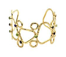 Azuni London NEW! Athena Gold Plated Mixed Stones Sculptural Cuff Bracelet