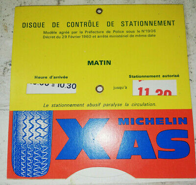 Vintage 60s tyre pneu Disque de controle de stationnement Michelin XAS BIBENDUM