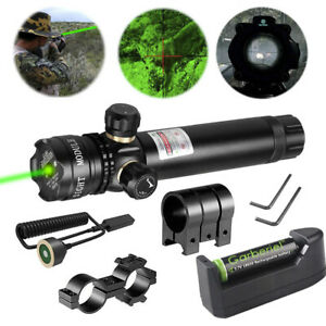 18650 Tactical 532nm Green Laser Dot Scope Sight Rifle Remote Switch 2 Mounts US