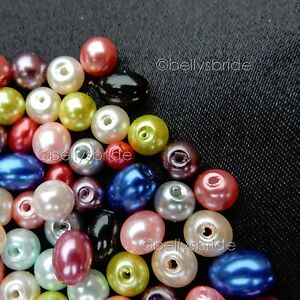 150-Mixed-Colour-Round-and-Oval-Glass-Pearl-Beads-for-Jewellery-Making-6-amp-8-mm