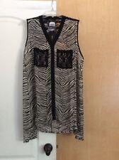 New Robert Louis - Black/multi Sheer/lace  Animal Printed Women Top Plus size 1X