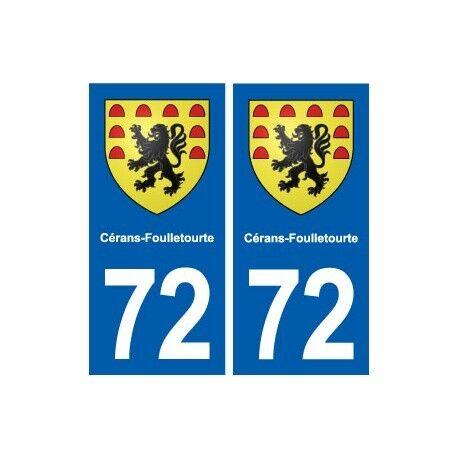 72 Cérans-Foulletourte blason autocollant plaque stickers ville arrondis