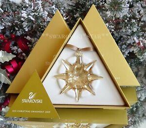 2009-SCS-NIB-SWAROVSKI-ANNUAL-GOLDEN-LARGE-CHRISTMAS-ORNAMENT-STAR-1026761
