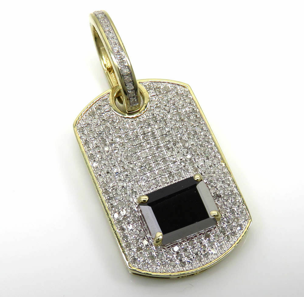 Solid 10K Yellow Gold Plated AAA Black Diamond Dog Tag