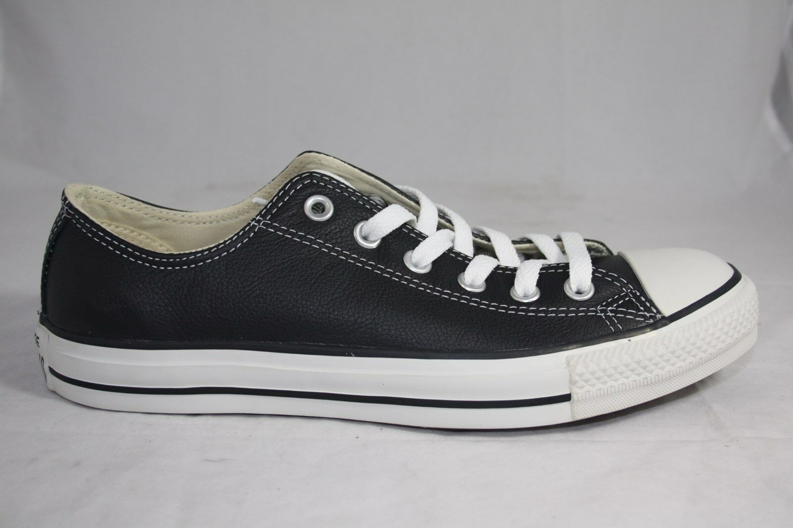 MENS CONVERSE LEATHER LOW 107348 BLACK MILK COLOR CT OX SIZE AVAL 610.5