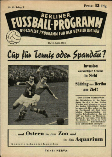 Berliner Pokal-Endspiel 1953/54 Tennis Borussia Spandauer SV 11.04.1954