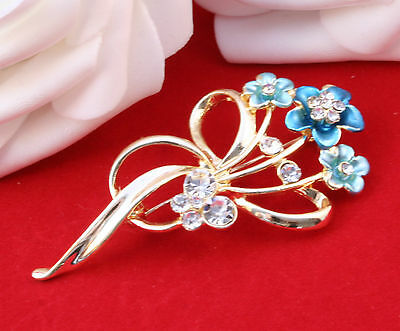 Enamel Gold tone Brooch to ,Wear, or Craft wedding bouquet ,Fascinators
