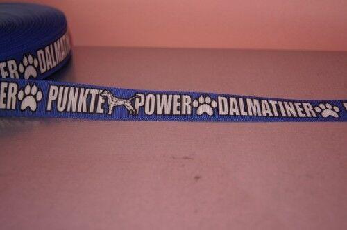 2881 Power Dalmatiner blau 22mm Breite Eigenproduktion Ripsband Webband Borte