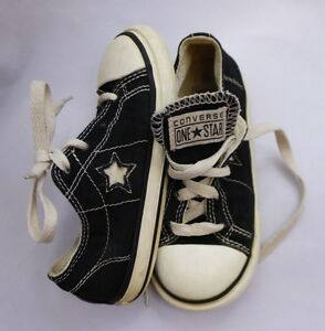 1fe995e9e679 CONVERSE ONE STAR All Black Toddler Infants Baby Size 10 Canvas ...