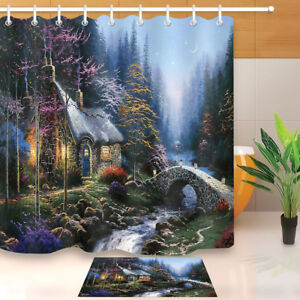 """Fairy Tale Forest Scenery Shower Curtain Liner Waterpoof Fabric Bathroom Mat 72/"""""""