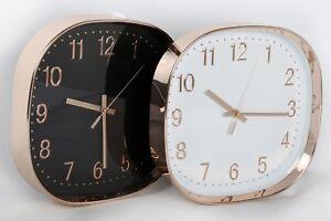 30-cm-Moderne-Carre-rond-Metallique-Cuivre-Or-Rose-Mural-Horloge-Cuisine