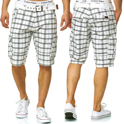 Indicode Messieurs Vichy Cargo Shorts Bermuda Pantalon Court Jeans Denim Lin jogg