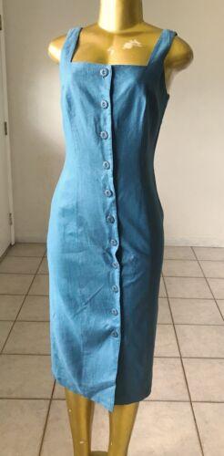 MARIE ST CLAIRE Womens Size 4 Blue Linen Vintage S