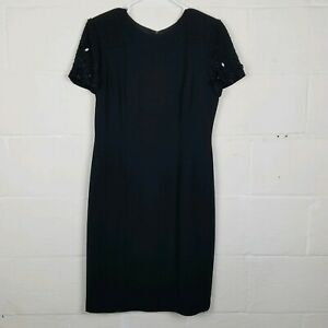Donna-Morgan-Black-Cocktail-Dress-Size-10-Lined-Beaded-Sleeves-Faux-Rear-Buttons