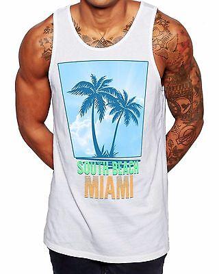 South Beach Chaleco Para Hombre Chaleco Verano Fiesta en la parte superior de Miami América vacaciones Singlet V2