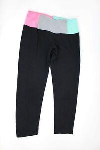 c27228cf71ed9 HARD TAIL Contrast Flat Waist Capri Leggings Black Size XS Cropped ...