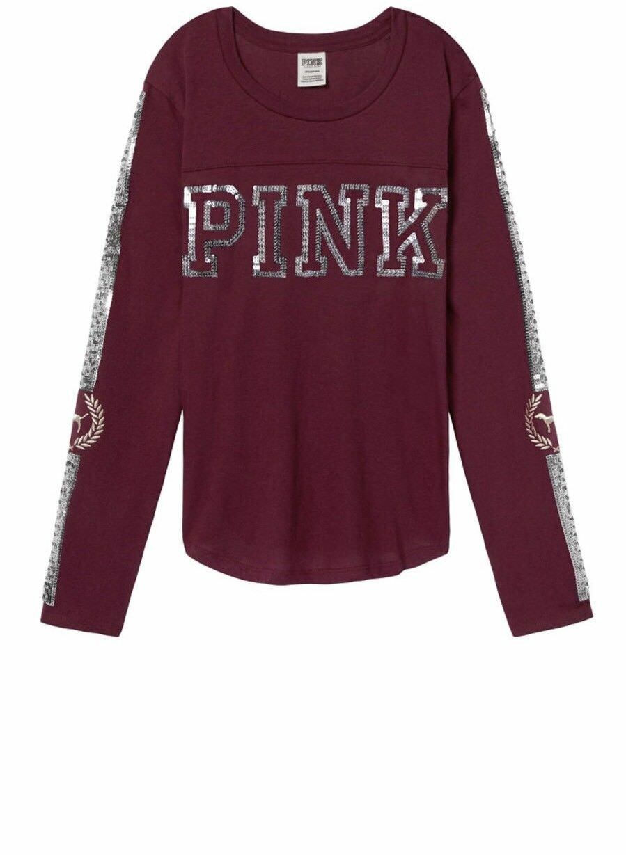 New Victoria's Secret Rosa Bling Sequins Long Sleeve Football Tee Shirt Floral