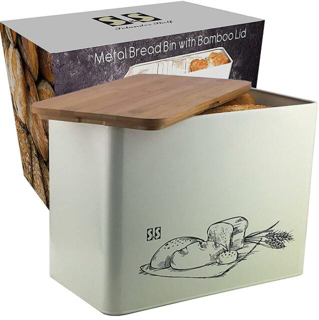 Space Saving Extra Large Vertical Bread Bin with Eco Bamboo Cutting Board Lid