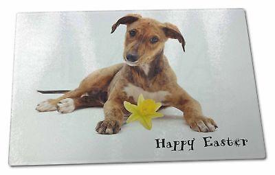 'happy Easter' Lurcher Extra Large Toughened Glass Cutting, Chopp, Ad-lu2da1gcbl Elegante E Grazioso