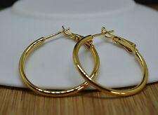 Beautiful Ladies 18k/18ct Yellow Gold Filled Smooth 3cm/30mm Hoop Earrings