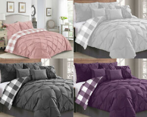 Luxury-Duvet-Cover-Set-Checked-Pintuck-Quilt-Bedding-Sets-Double-Super-King-size